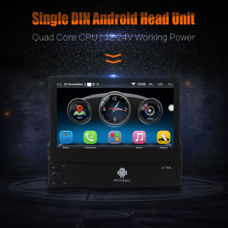Single Din Android Quad Core 7Inch Touch Screen Car Dash Player GPS WIFI BT Head Unit Stereos 12-24V