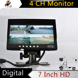 7 Inch Split 4 Channel Quad Video LED Monitor Screen for Car BUS Truck Trailer Reverse Parking