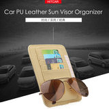 Car PU Leather Storage Case Sunglasses Cards Organizer Sun Visor Sunshade Sleeve Wallet Clips