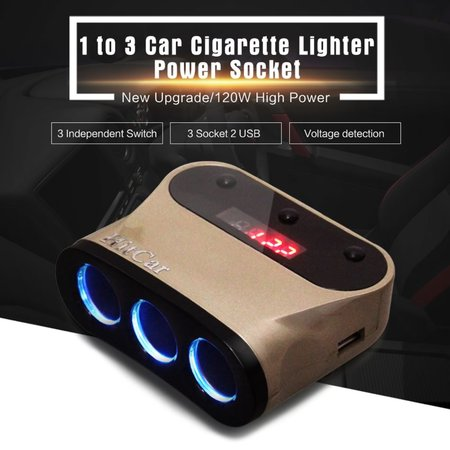 Car 120W High Power 1 to 3 Car Cigarette Lighter Socket Power Adapter Splitter Plug with 2 USB Port